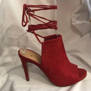 Red lace up high heel